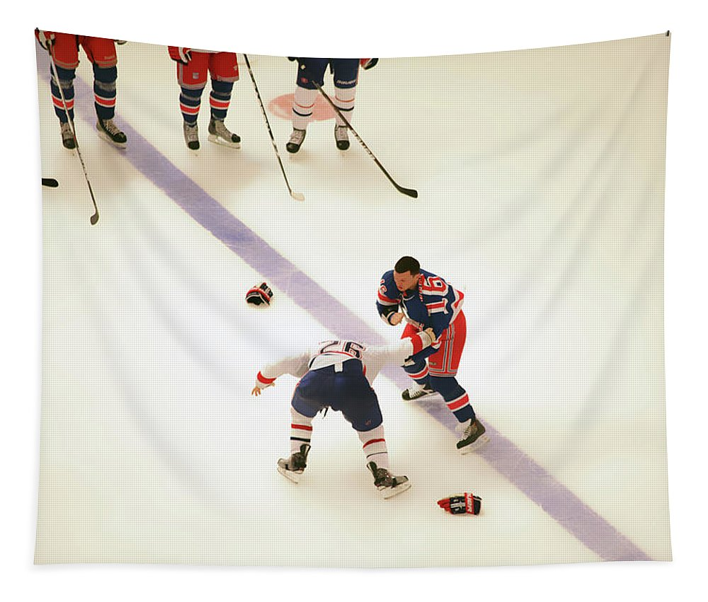 Hockey Tapestry featuring the photograph One Two Punch by Karol Livote