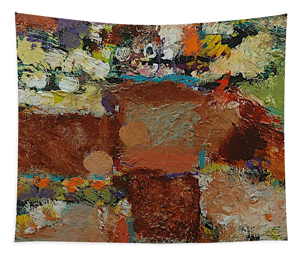 Landscape Tapestry featuring the painting One Way by Allan P Friedlander