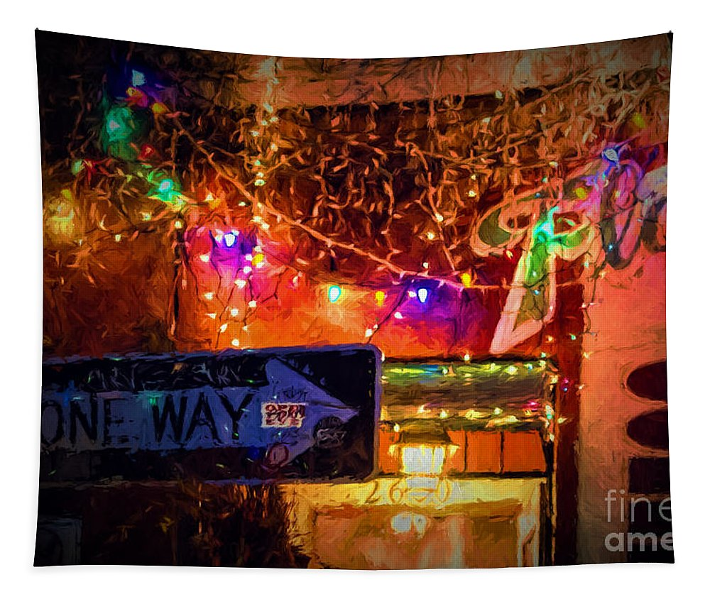 Cafe Tapestry featuring the photograph One Way Night Cafe - Nola by Kathleen K Parker