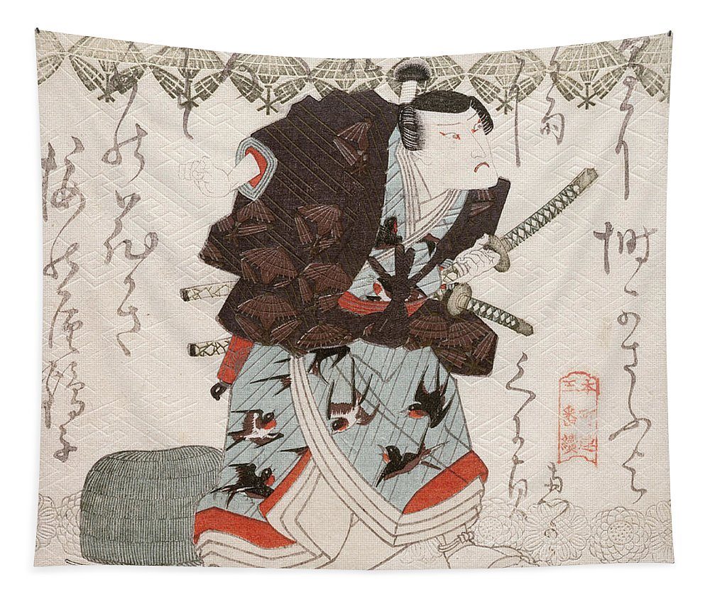 Male Tapestry featuring the painting Onoe Kikugoro IIi As Nagoya Sanza by Utagawa Kunisada