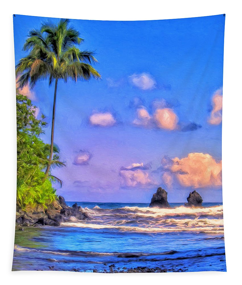 Hamakua Coast Tapestry featuring the painting Onomeo Bay by Dominic Piperata