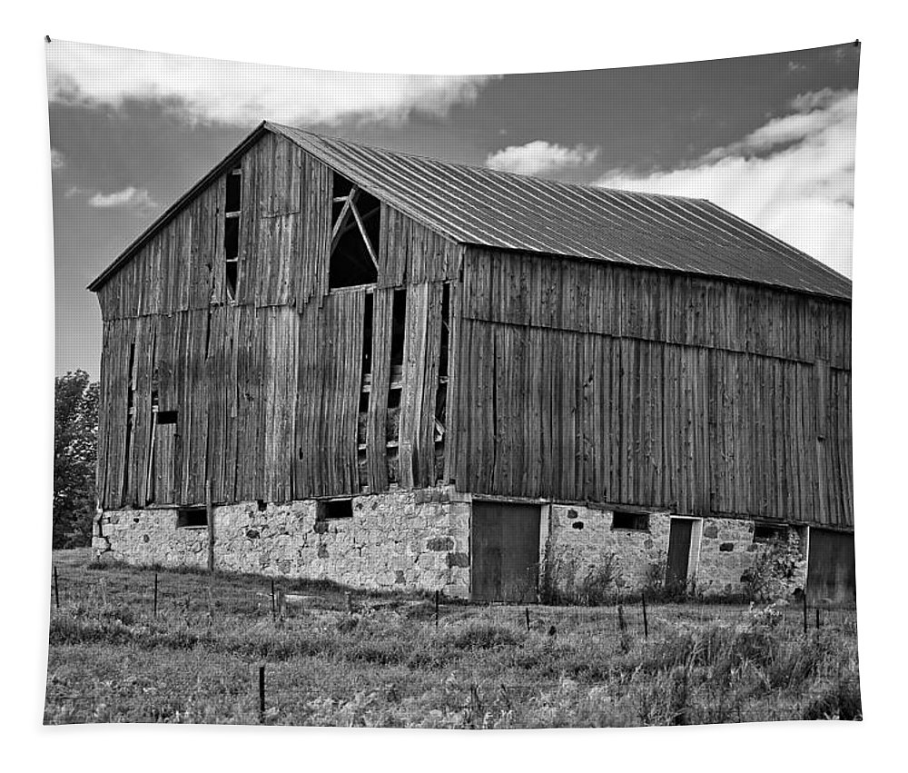 Rural Tapestry featuring the photograph Ontario Barn Monochrome by Steve Harrington