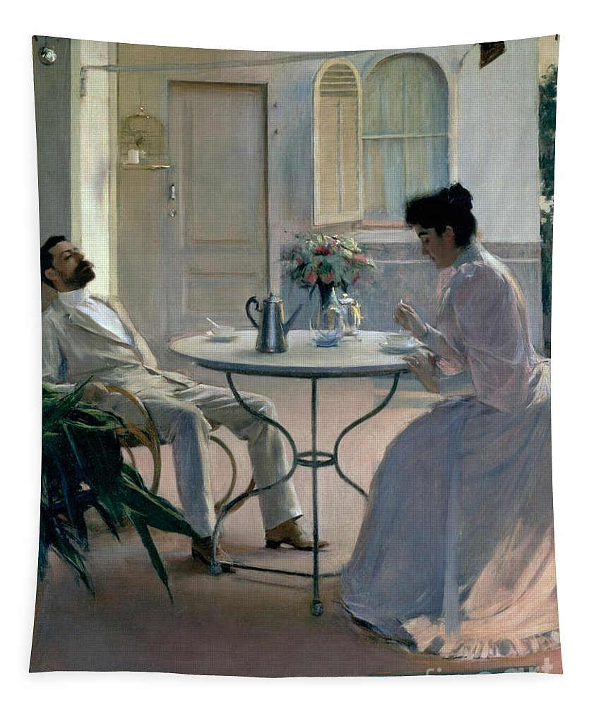 Coffee; Verandah; Terrace; Silver; Pot; Eating; Male; Female; Couple; Husband; Wife; Siesta; Shade; Catalan; Terrace Tapestry featuring the painting Open Air Interior Barcelona by Ramon Casas i Carbo