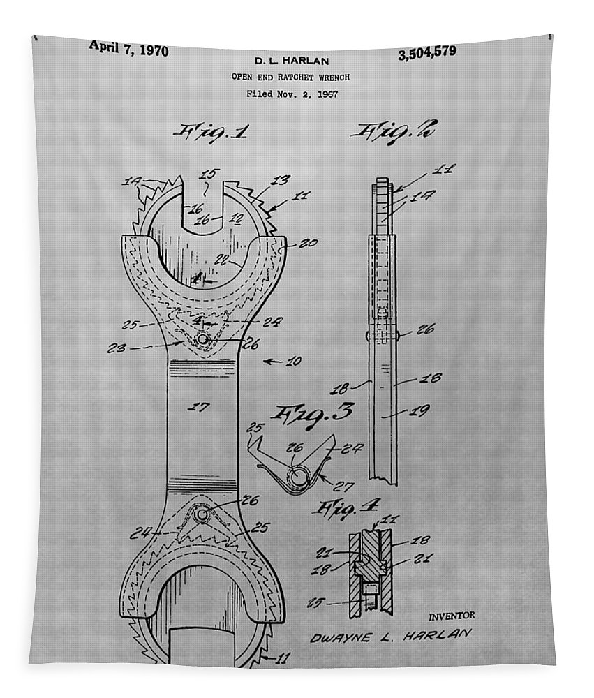 Open End Ratchet Wrench Patent Tapestry featuring the drawing Open End Ratchet Wrench by Dan Sproul