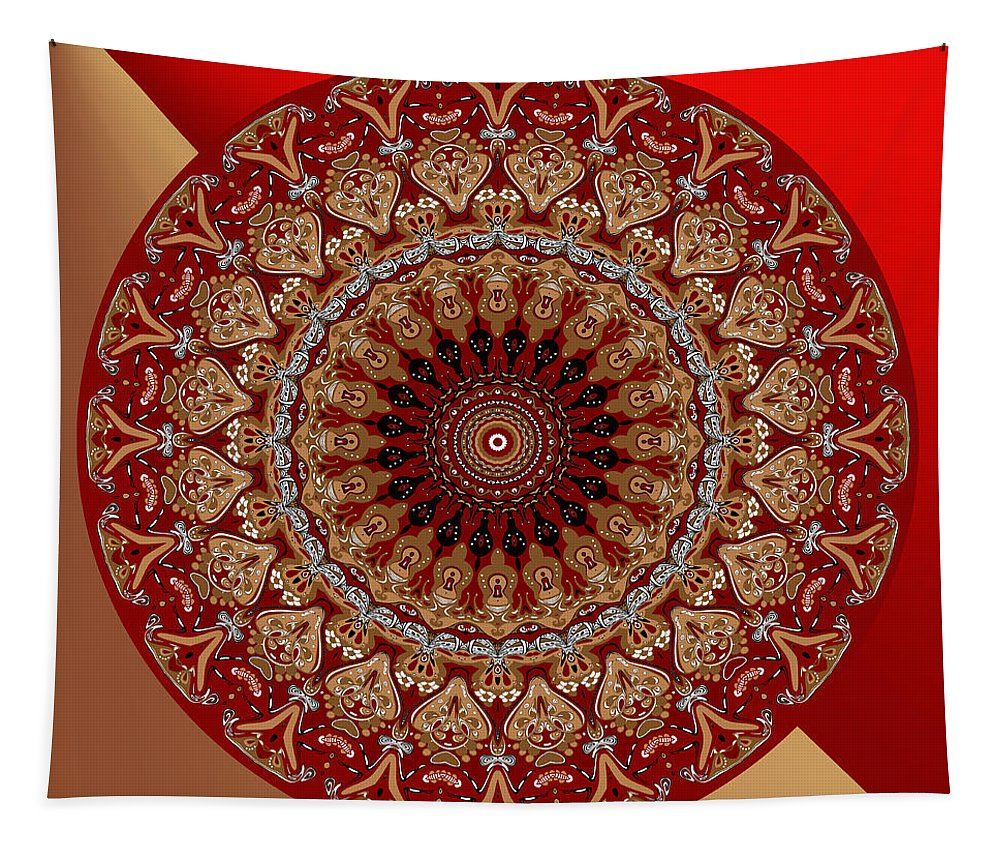Red Tapestry featuring the digital art Opulent No. 1 by Joy McKenzie