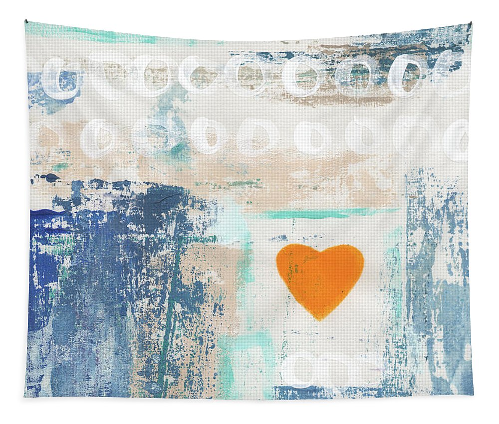 Heart Tapestry featuring the painting Orange Heart- abstract painting by Linda Woods