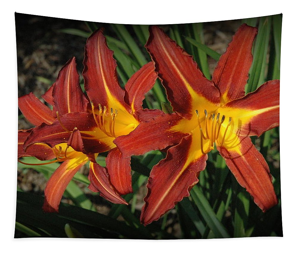 Lillies Tapestry featuring the photograph Orange Lillies by Linda Covino