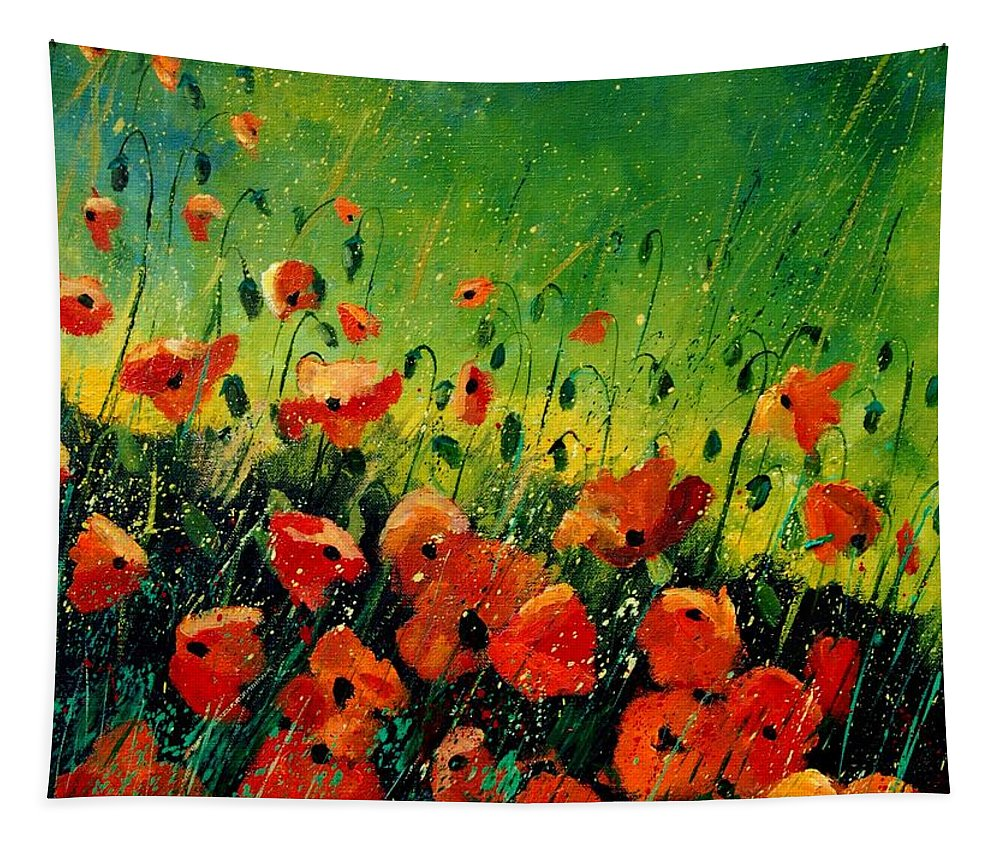 Poppies Tapestry featuring the painting Orange poppies by Pol Ledent