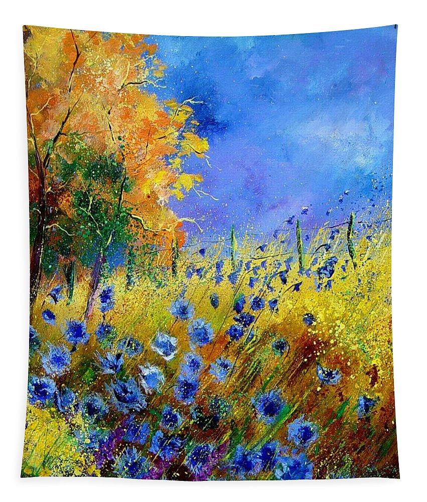 Poppies Tapestry featuring the painting Orange tree and blue cornflowers by Pol Ledent