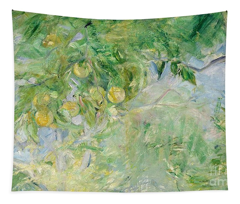 Branches D'oranger; Impressionist; Fruit; Oranges; Summer; Sunlight; Orange Tapestry featuring the painting Orange Tree Branches by Berthe Morisot