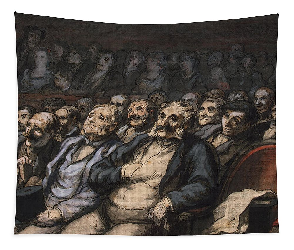 Audience Tapestry featuring the painting Orchestra Seat by Honore Daumier