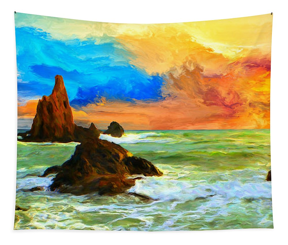 Oregon Tapestry featuring the painting Oregon Coast At Sunset by Dominic Piperata
