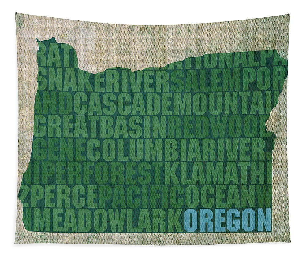 Oregon Tapestry featuring the mixed media Oregon Word Art State Map On Canvas by Design Turnpike