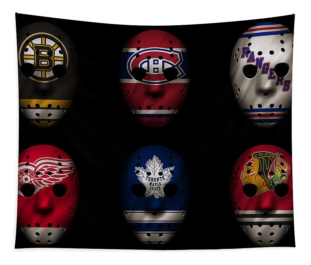 Detroit Red Wings Tapestry featuring the photograph Original Six Jersey Mask by Joe Hamilton