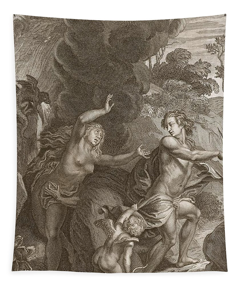 Wife Tapestry featuring the drawing Orpheus, Leading Eurydice Out Of Hell by Bernard Picart