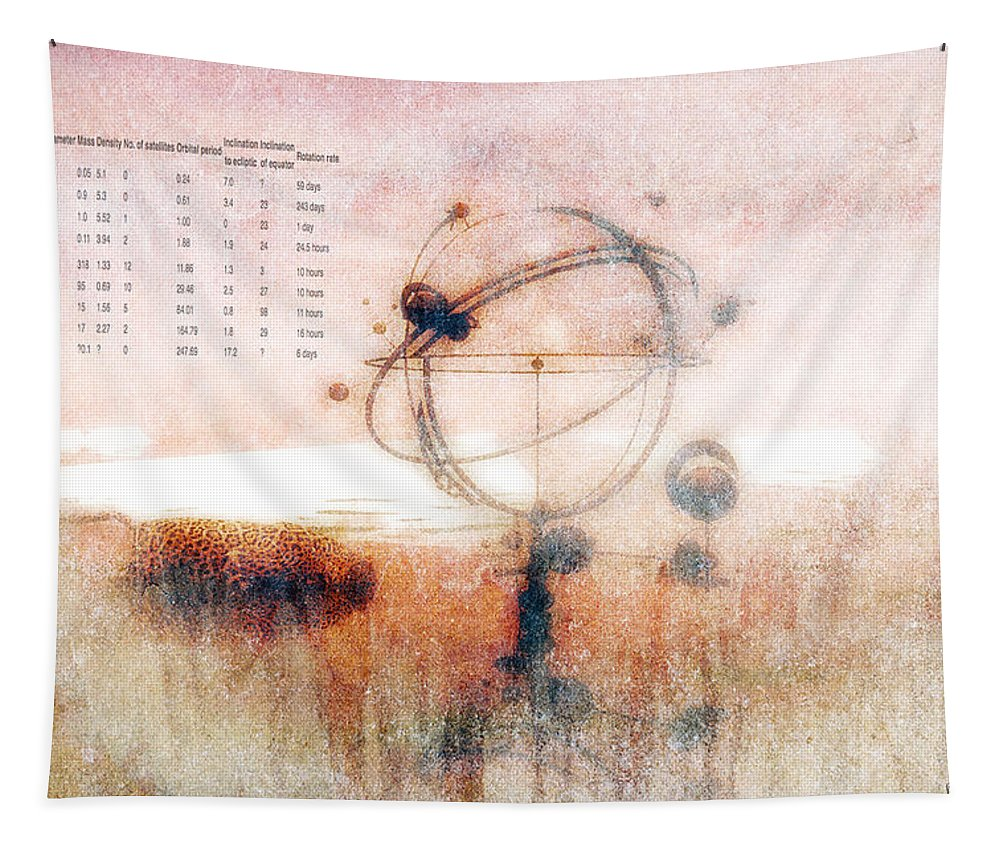 Orrery Tapestry featuring the digital art Orrery by Bob Orsillo