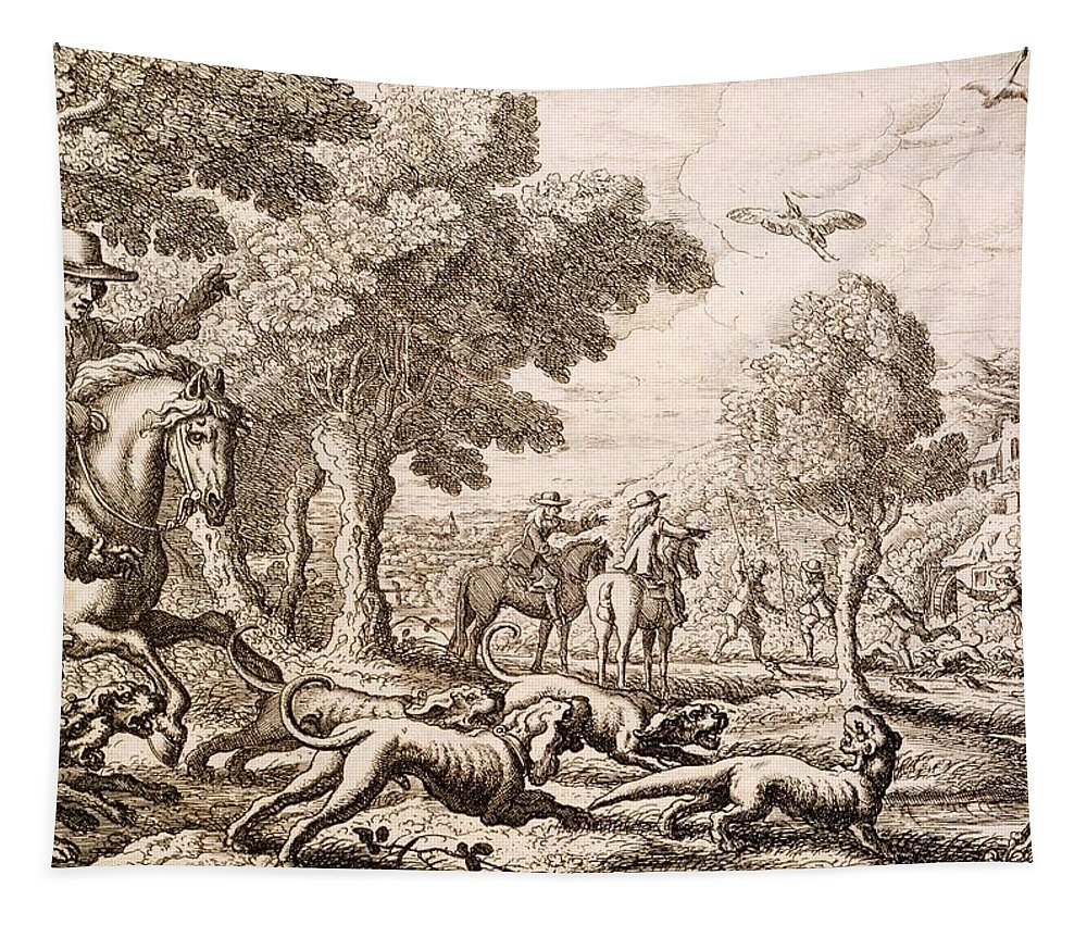 Hunt Tapestry featuring the painting Otter Hunting By A River, Engraved by Francis Barlow