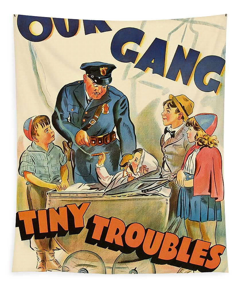 Poster Tapestry featuring the drawing Our Gang Vintage Movie Poster 1930s by Mountain Dreams