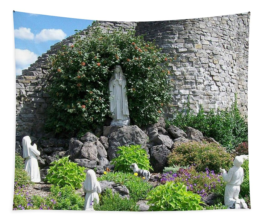 Religious Tapestry featuring the photograph Our Lady Of The Woods Shrine Lll by Michelle Calkins