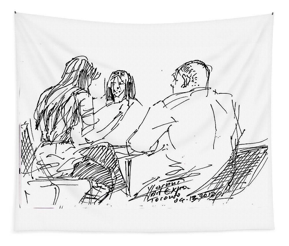 People Sitting Tapestry featuring the drawing Out For A Coffee by Ylli Haruni