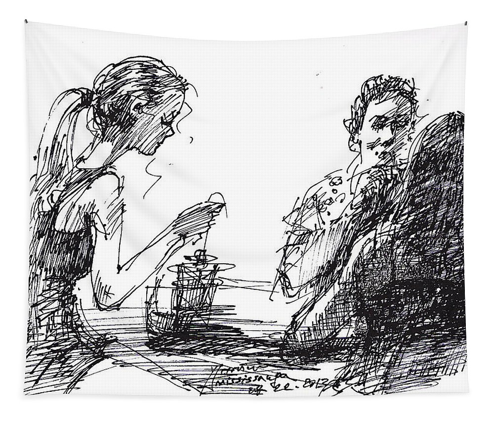 Beautiful Girls Tapestry featuring the drawing Out For A Tea by Ylli Haruni