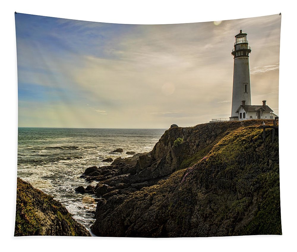 Lighthouse Tapestry featuring the photograph Out There by Heather Applegate