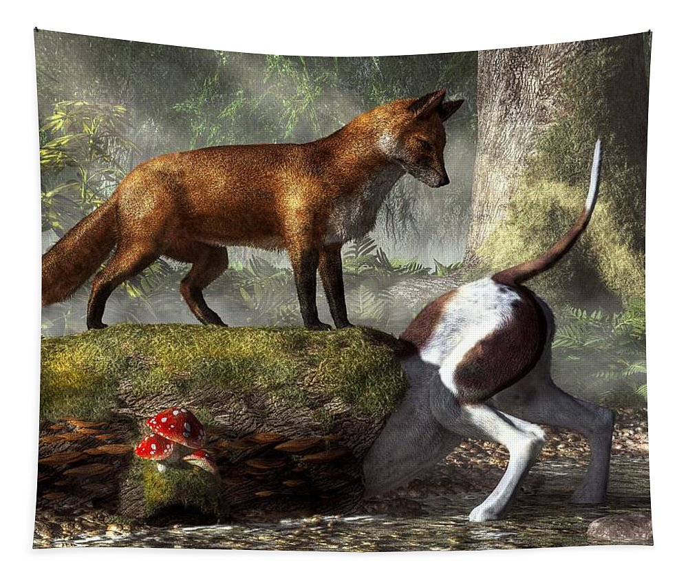 Outfoxed Tapestry featuring the digital art Outfoxed by Daniel Eskridge