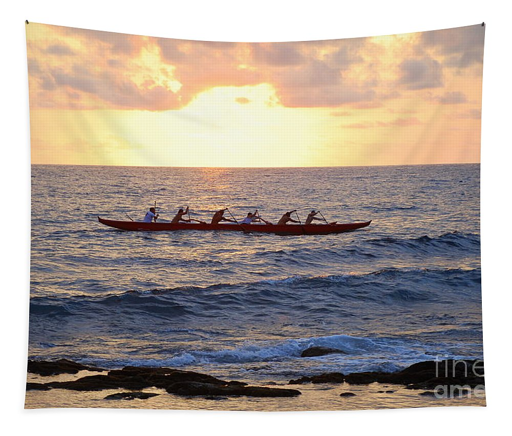 Outrigger Tapestry featuring the photograph Outrigger Canoe At Sunset In Kailua Kona by Catherine Sherman