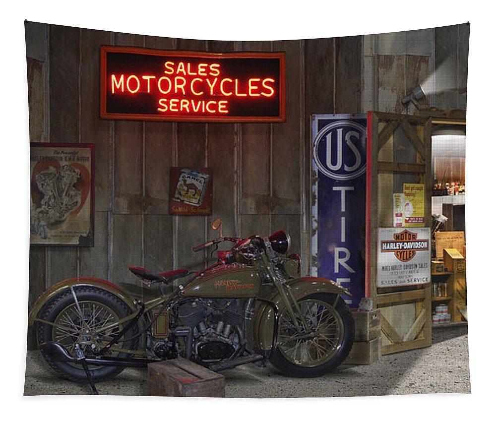 Motorcycle Shop Tapestry featuring the photograph Outside The Motorcycle Shop by Mike McGlothlen