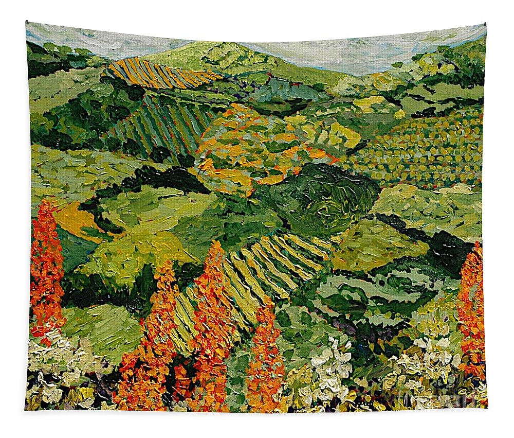 Landscape Tapestry featuring the painting Overgrown by Allan P Friedlander