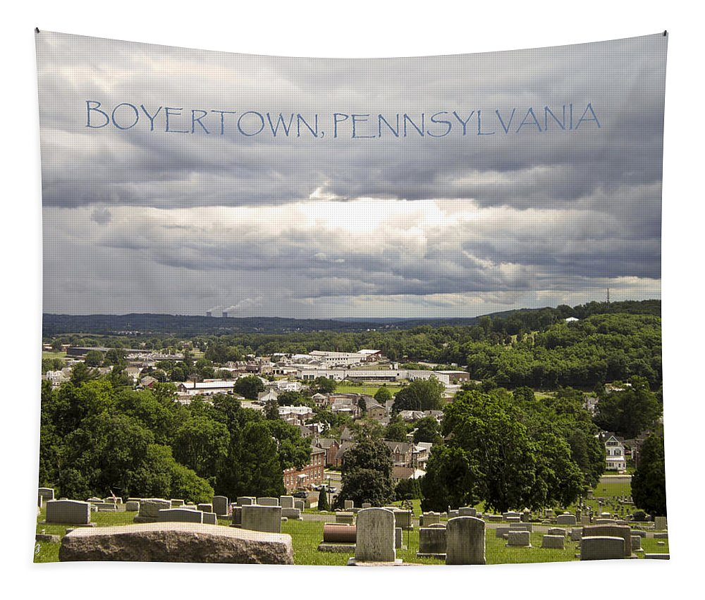 Boyertown Tapestry featuring the photograph Overlooking Boyertown by Trish Tritz