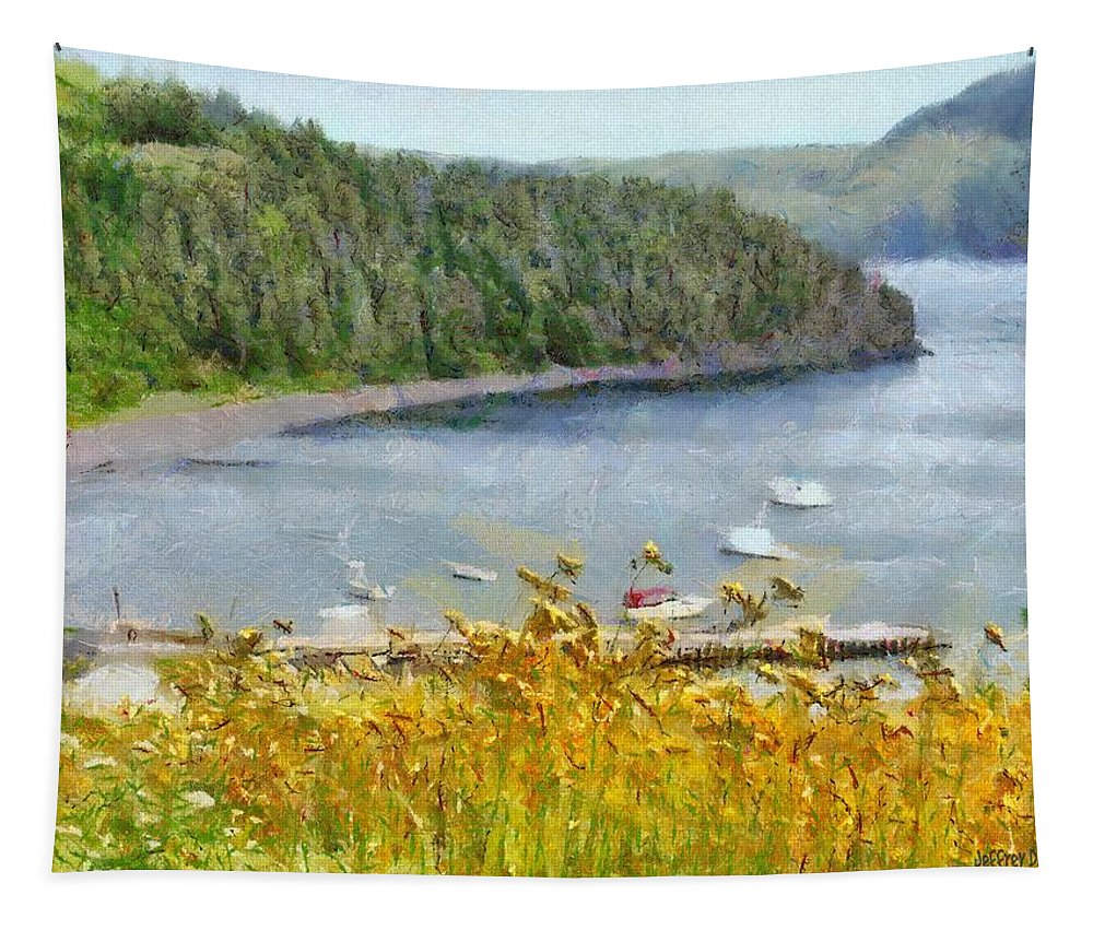 Canadian Tapestry featuring the painting Overlooking the Harbor by Jeffrey Kolker
