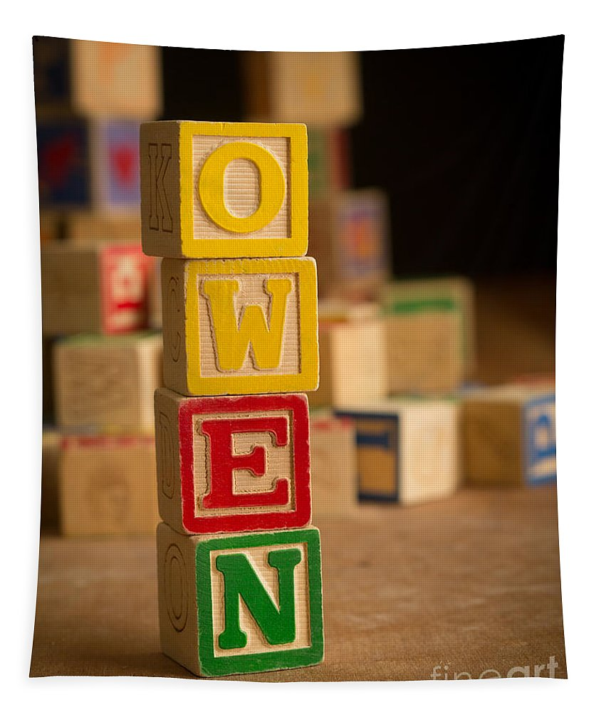 Alphabet Tapestry featuring the photograph Owen - Alphabet Blocks by Edward Fielding