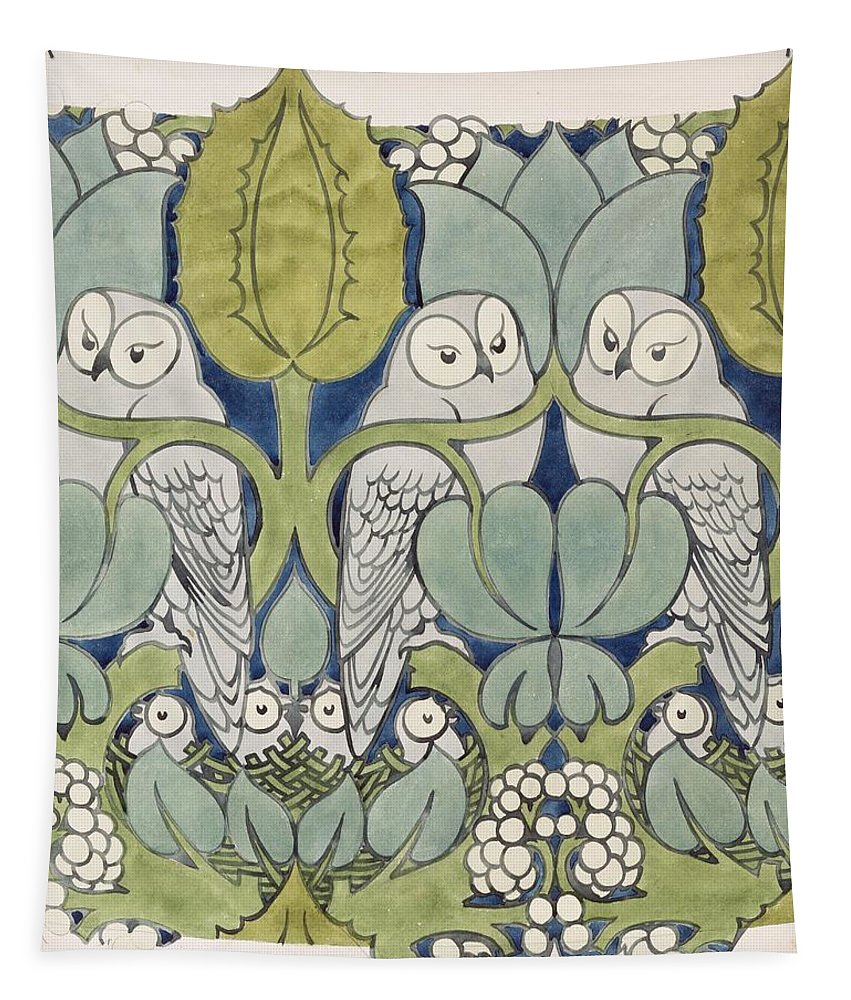Textile Or Wallpaper Design Tapestry featuring the painting Owls, 1913 by Charles Francis Annesley Voysey