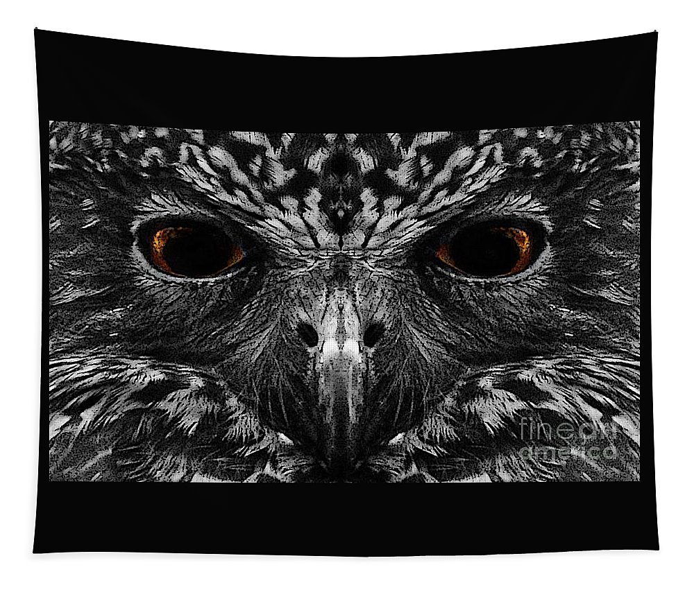 Owl Tapestry featuring the photograph Owl's Eyes by Ben Yassa