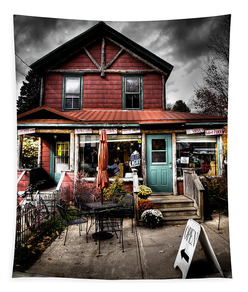 Ozzie's Coffee Bar Tapestry featuring the photograph Ozzie's Coffee Bar - Old Forge Ny by David Patterson