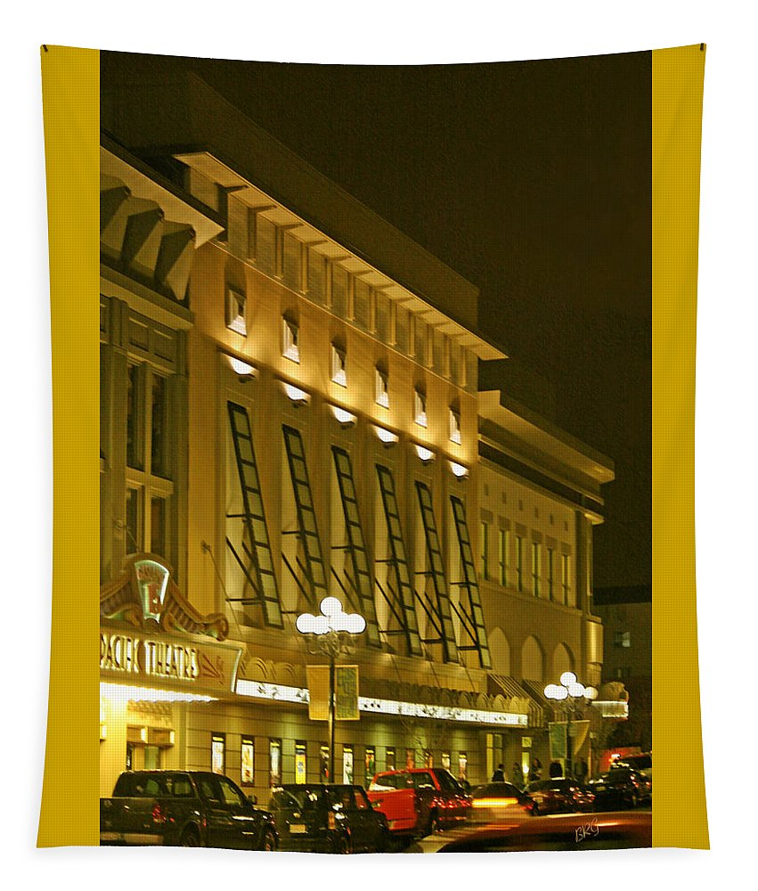 Night Life Tapestry featuring the photograph Pacific Theatres In San Diego At Night by Ben and Raisa Gertsberg