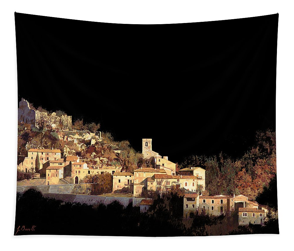 Landscape Tapestry featuring the painting Paesaggio Scuro by Guido Borelli