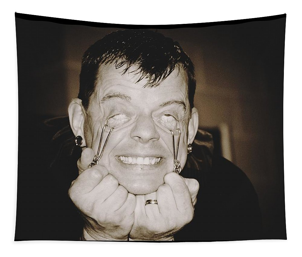 Freak Art Man Pulling Eyes Tapestry featuring the photograph Painful by Alice Gipson