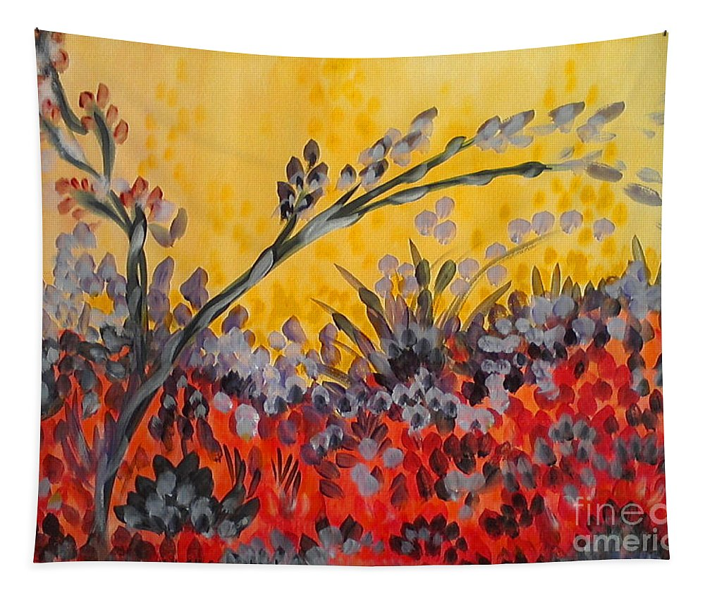 Paintbrush Astray Tapestry featuring the painting Paintbrush Astray by Holly Carmichael
