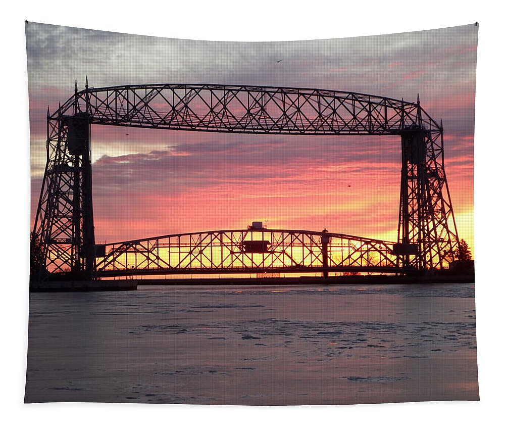 Aerial Lift Bridge Tapestry featuring the photograph Painted Bridge by Alison Gimpel