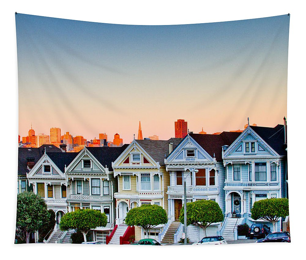 San Francisco Tapestry featuring the photograph Painted Ladies by Bill Gallagher