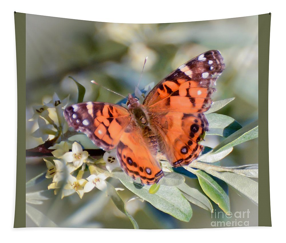Painted Lady Butterfly Tapestry featuring the photograph Painted Lady Butterfly by Kerri Farley