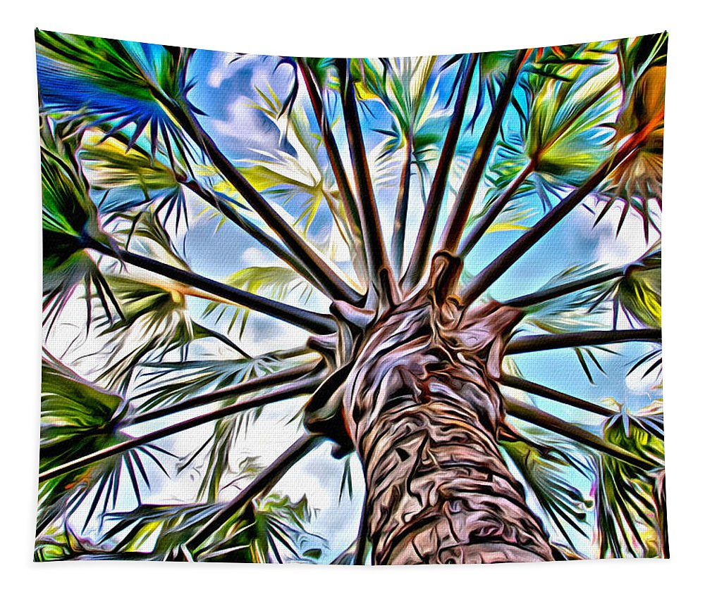 Palms Tapestry featuring the photograph Painted Palms by Alice Gipson