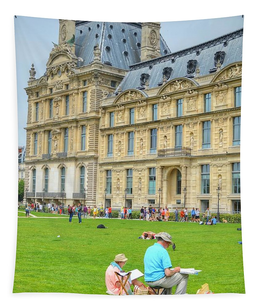 Painting Tapestry featuring the photograph Painting In Paris by Linda Covino