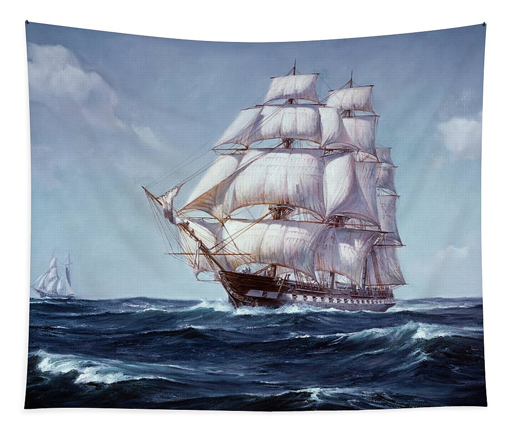 Horizontal Tapestry featuring the painting Painting Of The Square Rigged Frigate by Vintage Images