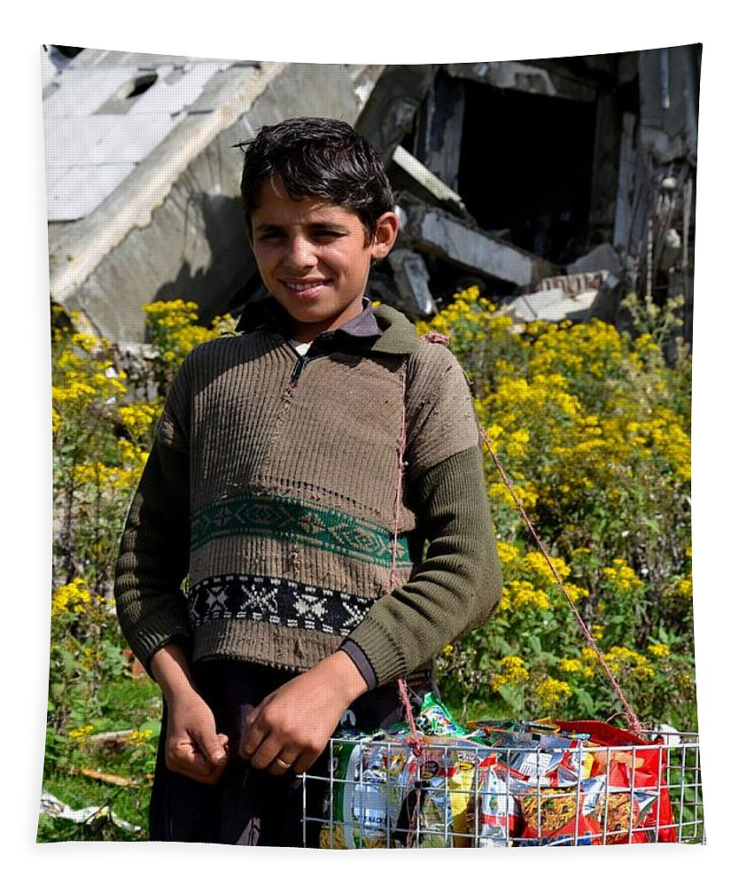 Boy Tapestry featuring the photograph Pakistani Boy In Front Of Hotel Ruins In Swat Valley by Imran Ahmed