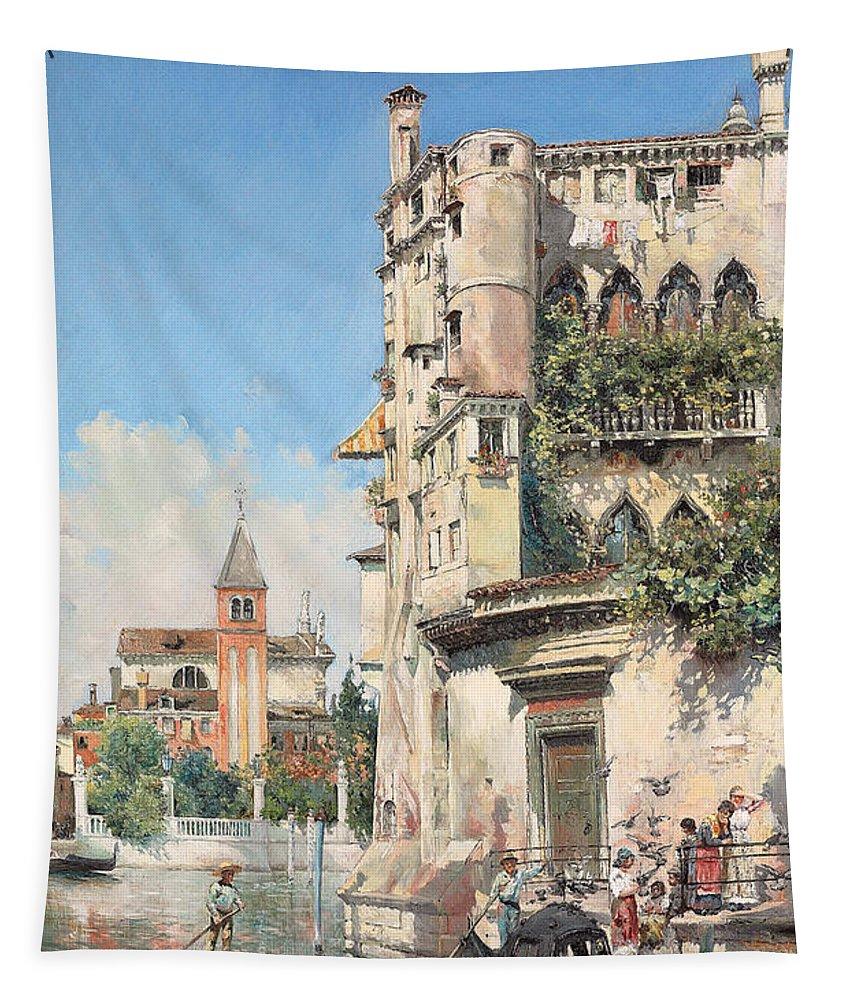 Palazzo Contarini Tapestry featuring the painting Palazzo Contarini by Jose Gallegos Arnosa