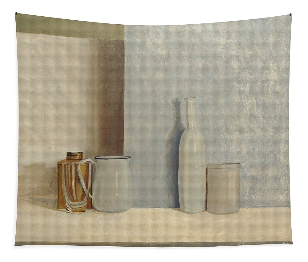 Still Life Tapestry featuring the painting Pale Grey And Blue by William Packer