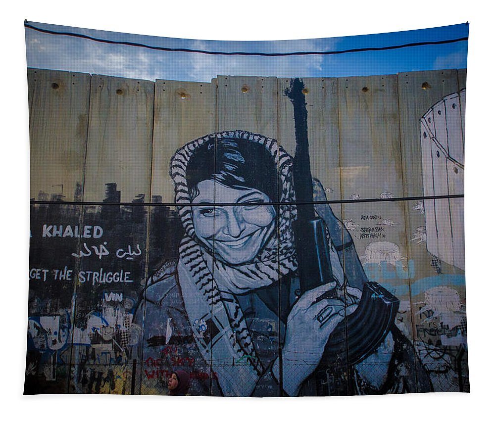 Palestine Tapestry featuring the photograph Palestinian Graffiti by David Morefield